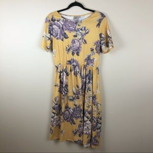 ASOS Yellow Floral Midi Dress